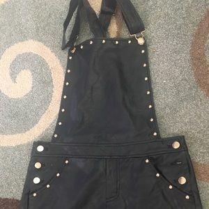 Leather jumper - black
